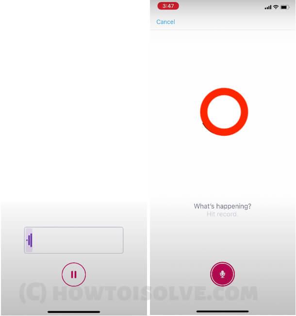 Start Recording Voice not on iPhone Twitter app