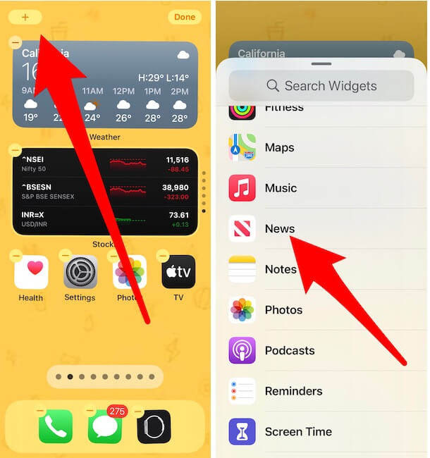 Add a new widget on iPhone home screen