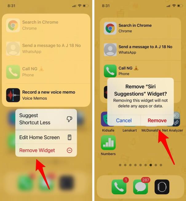 Delete Siri Suggestions Widget