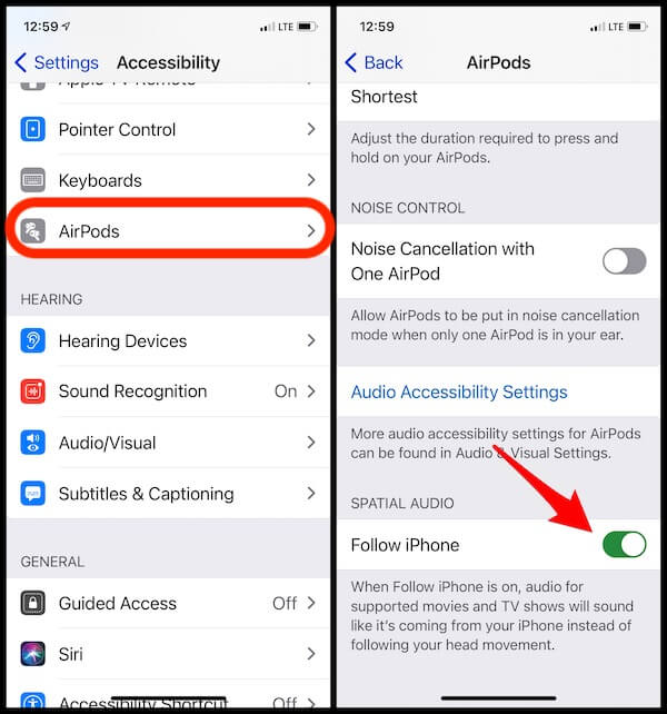 Enable Spatial Audio on iPhone