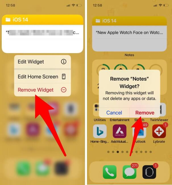 Long-press the Notes Widget and select Remove Widget