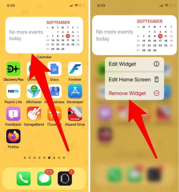 Remove Calendar Widget