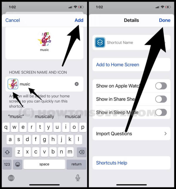 Give Shortcut Name and Add