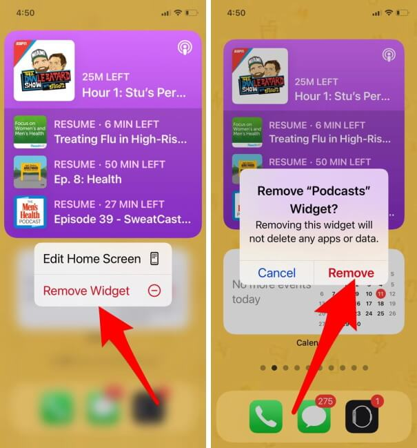 Tap and Hold Podcast Widget and Remove Widget