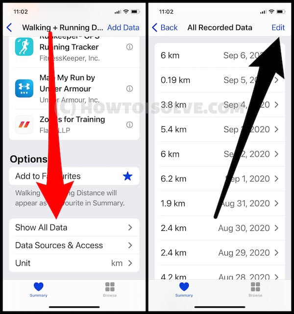 View All Health Data On iphone and Edit Data