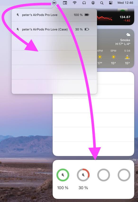 Batteries widget open from top menu and Widget screen