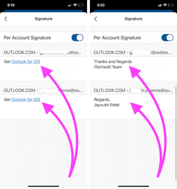 Change Signature of Outlook mail account from iPhone app