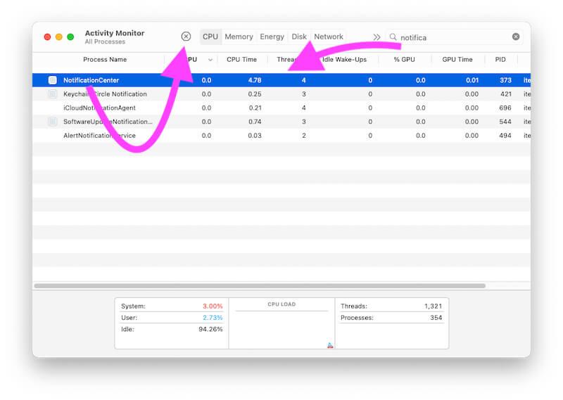 Close Notification Widget Process on Mac from Activity Monitor