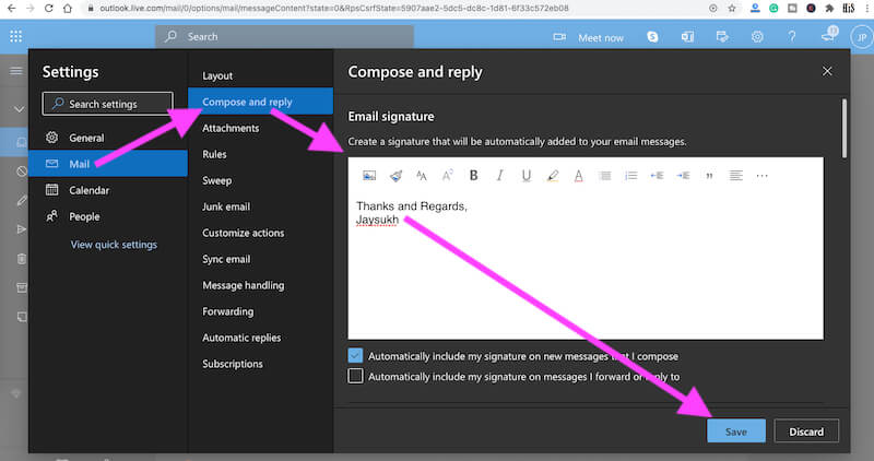 Create or Change Outlook Email Signature on Mac or PC browser Step 2
