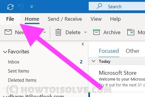 Files menu on Microsoft Outlook App on Windows