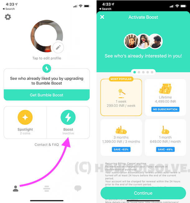 Manage Bumble Boost Subscription on Bumble App