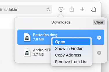 Open Batteries widget setup on Mac from Download manager