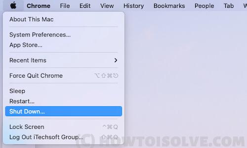 Shutdown mac from top mac menu