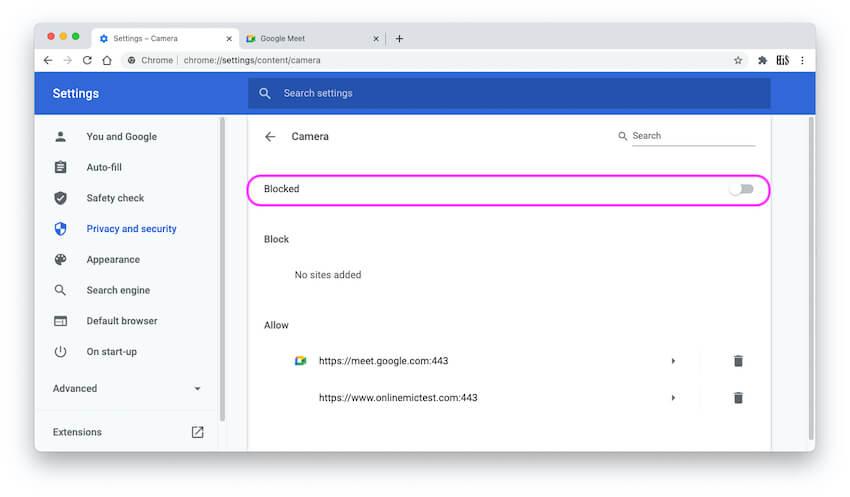 Block Camera for Chrome Browser