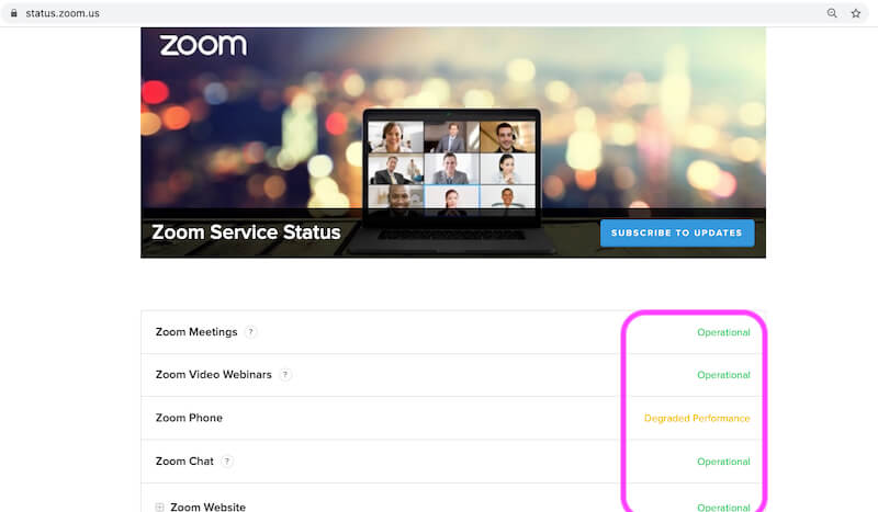 Check Zoom System Status online