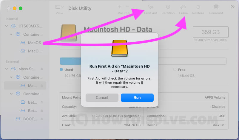 First Aid and Erase Duplicated macOS Partition on Mac