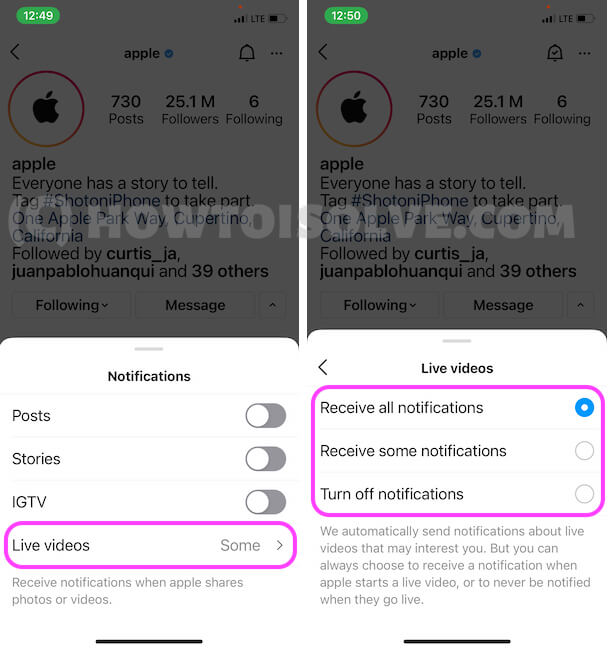 Live Video notification update on your Phone