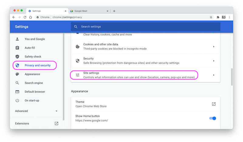 Site settings under Privacy and Security