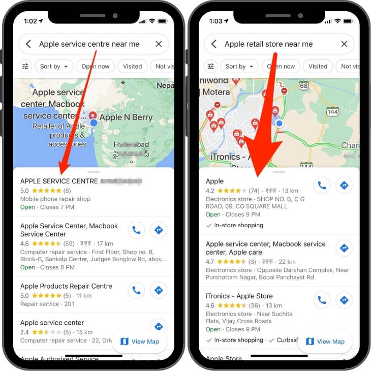 Find Apple Service center and Apple Retail store on Google map