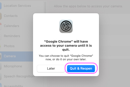 Quite and Reopen Browser to Apply Changes