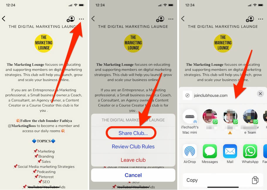 Share Clubhouse Link on Clubhouse app