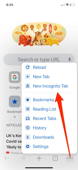 Turn on New incognito mode on Chrome iPhone
