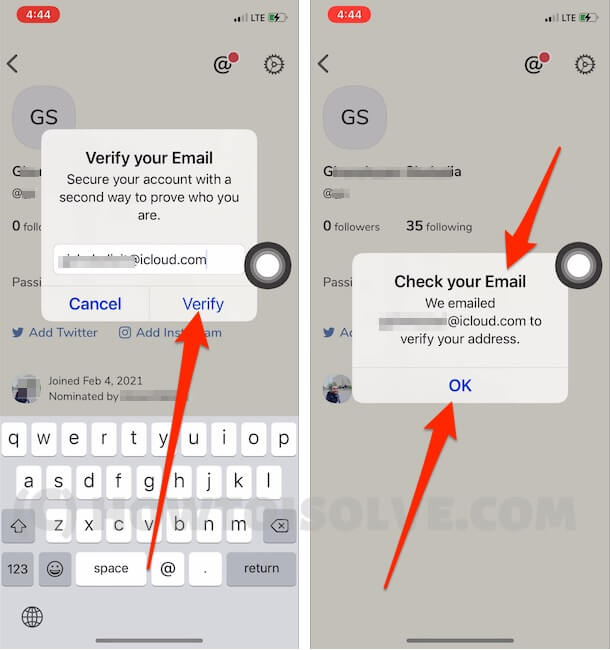 Verify Email on Clubhouse app and Verify from Email inbox