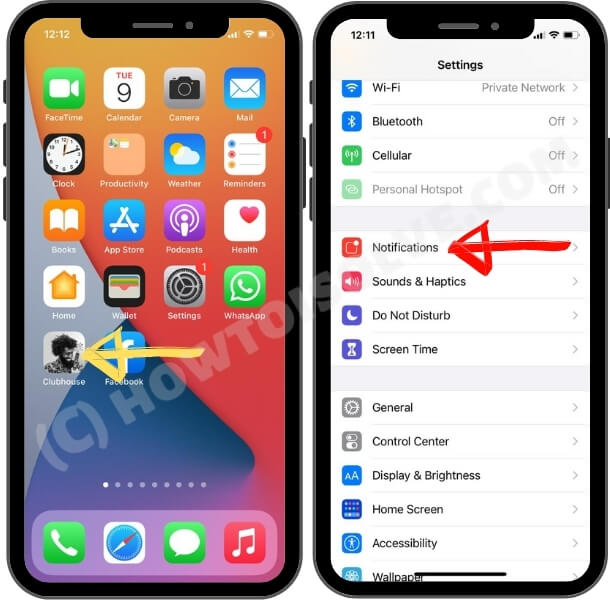 how to turn on and turn off clubhouse app notification