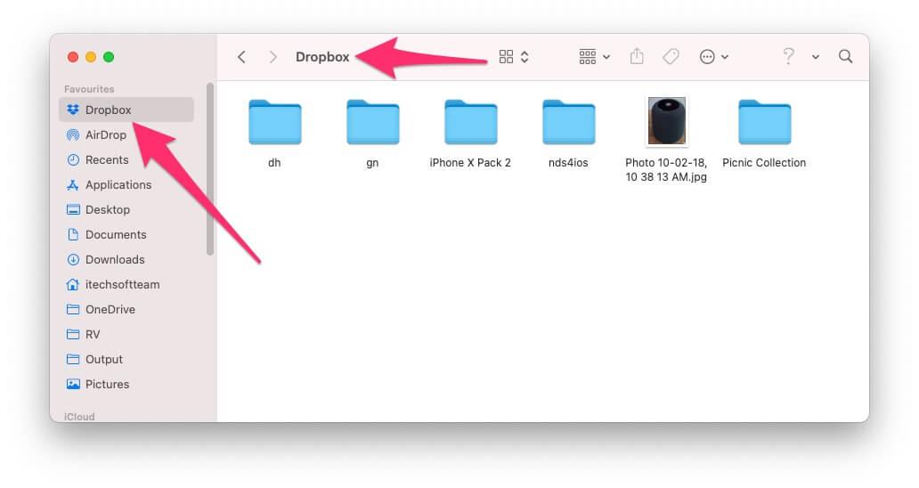 Access Dropbox on finder mac