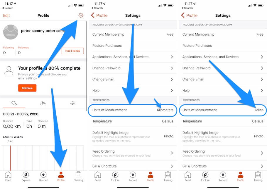 Change Starve Mile to Kilometers on iOS App