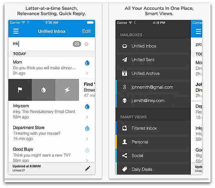 Inky Mail iOS Apps - Main management for iPhone