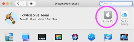 Apple ID on System Preferences on Mac for iCloud Space
