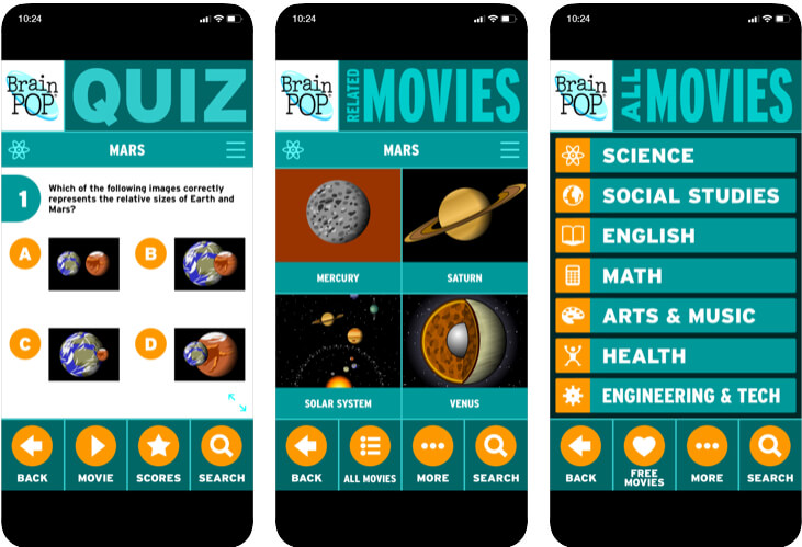 BrainPOP Featured Movie for Educational videos and quizzes