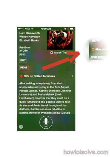 Check percentage and description of selected Movie
