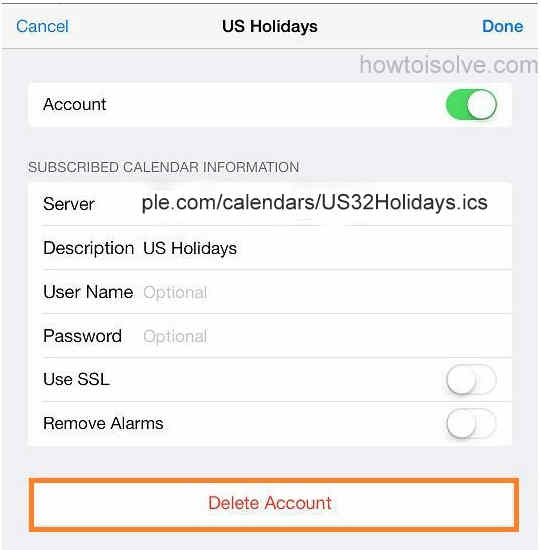 Completely Remove U.S. holidays in iPhone, iPad calendar