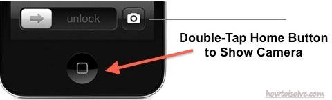 Turn on camera without open lock in iPhone : Double tap on iPhone home button