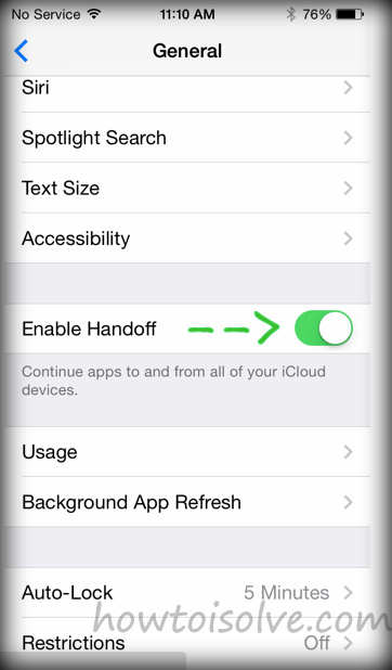 Features of iOS 8 with handoff option