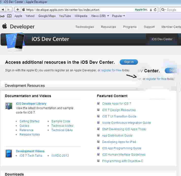 Register in iOS dev center as a iOS developer in free