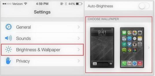 Set Brightness and wallpaper under settings