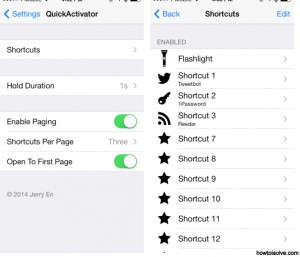 Set own shortcut on iPhone: QuickActivator