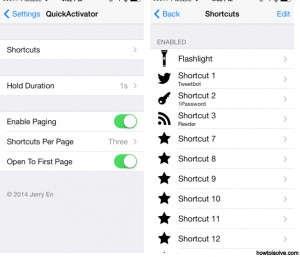 Set own shortcut on iPhone: QuickActivator