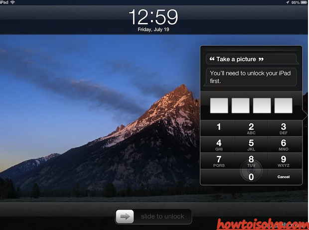 Start camera from home lock screen in your iPad new generation