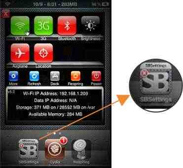 best jailbreak app SBsettings for catch customize features in idevice
