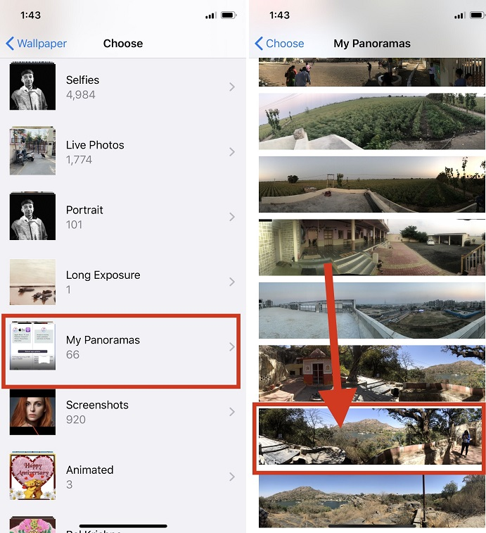 choose a Panoramas Album and Tap on a panoramic pic on your iphone iPad