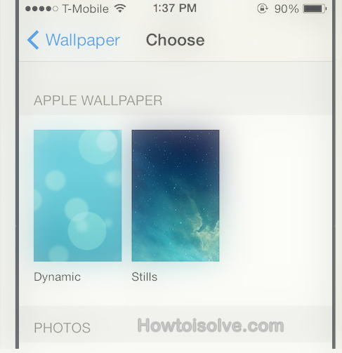 choose static wallpaper