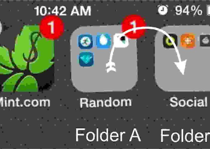 Tap and hold folder A which you want to move in another folder B