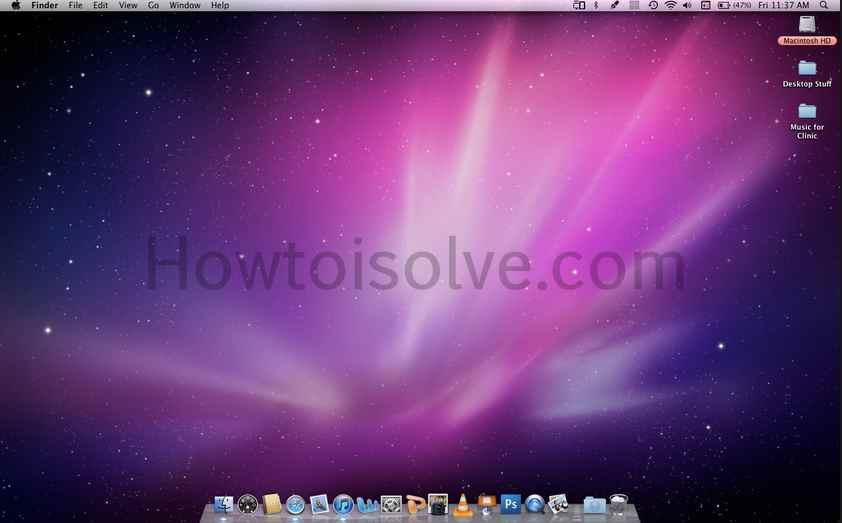 Home screen of Mac