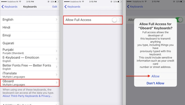 3 Allow full access Third Party Keyboard on iPhone and iPad