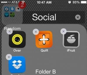 select app home screen and Open folder B