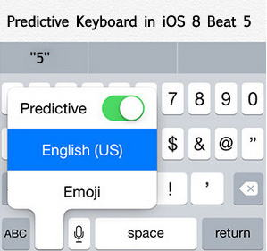 Predictive keyboard in iOS 8 Beta 5 for iPhone